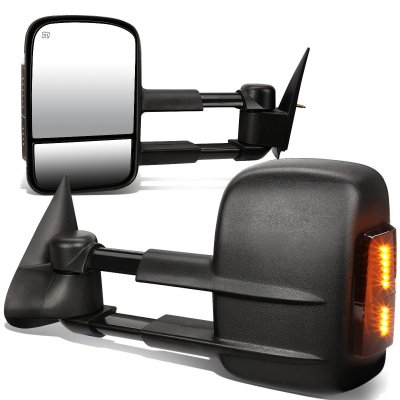 Chevy Silverado 1999-2002 Towing Mirrors Power Heated Smoked LED Signal Lights
