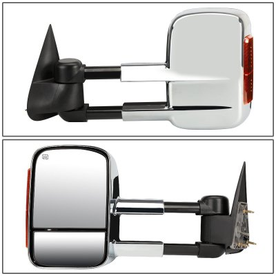 Chevy Silverado 1999-2002 Chrome Towing Mirrors Power Heated LED Signal Lights