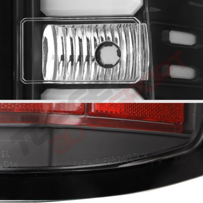 Chevy Silverado 1500 2014-2018 Black LED Tail Lights Tube Bar