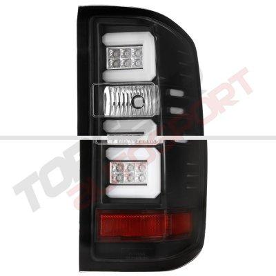 Chevy Silverado 1500 2014-2015 Black LED DRL Headlights and LED Tail Lights Tube Bar