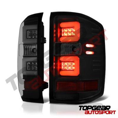 Chevy Silverado 2014-2015 Black LED DRL Headlights and Smoked LED Tail Lights Tube Bar