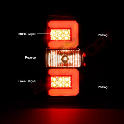Chevy Silverado 2500HD 2015-2018 Black Smoked LED Tail Lights Tube Bar