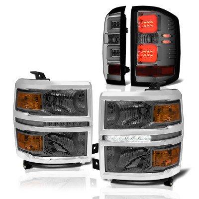 Chevy Silverado 1500 2014-2015 Smoked LED DRL Headlights and LED Tail Lights Tube Bar