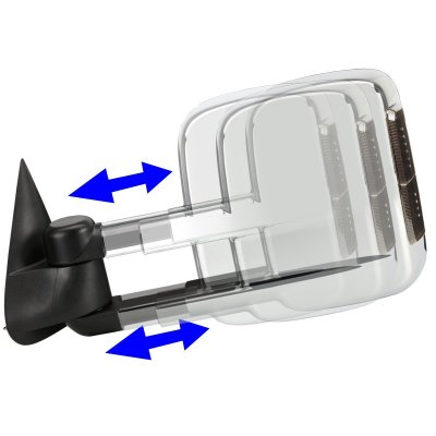 Chevy Silverado 1999-2002 Chrome Towing Mirrors Power Heated Smoked LED Signal Lights