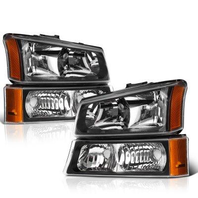 Chevy Silverado 2003-2006 Black Euro Headlights and Bumper Lights