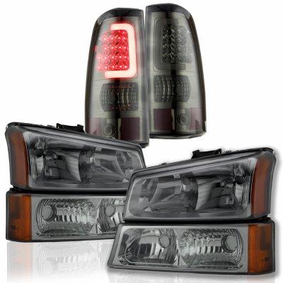 Chevy Silverado 2500HD 2003-2006 Smoked Headlights and Custom LED Tail Lights