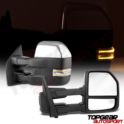 Ford F150 2015-2020 Chrome Towing Mirrors Power Heated LED Signal 22 Pins