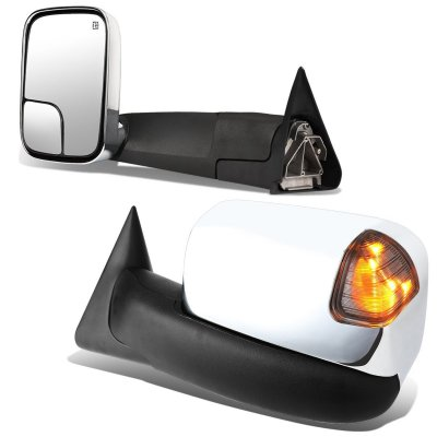 Dodge Ram 1500 1998-2001 Chrome Power Heated Towing Mirrors Smoked Signal Lights