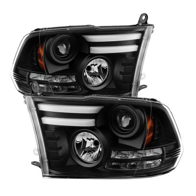 Dodge Ram 2009-2017 Black Projector Headlights Tube DRL