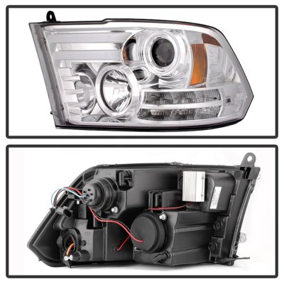 Dodge Ram 2010-2017 Clear Projector Headlights Tube DRL