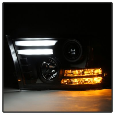 Dodge Ram 2013-2018 Black HID Projector Headlights Tube DRL