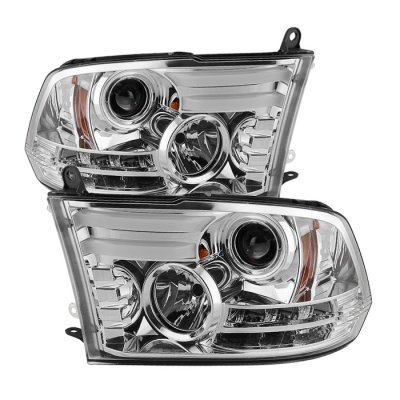 Dodge Ram 2013-2017 Clear HID Projector Headlights Tube DRL