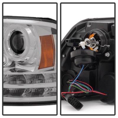 Dodge Ram 2013-2017 Clear HID Projector Headlights Tube DRL