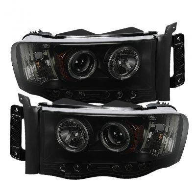 Dodge Ram 2500 2003-2005 Black Smoked Halo Projector Headlights with LED