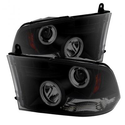 Dodge Ram 2009-2018 Black Smoked CCFL Halo Projector Headlights LED DRL