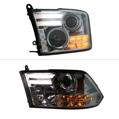 Dodge Ram 2009-2017 Smoked Projector Headlights Tube DRL