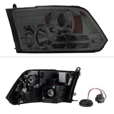 Dodge Ram 2009-2018 Smoked Projector Headlights Tube DRL