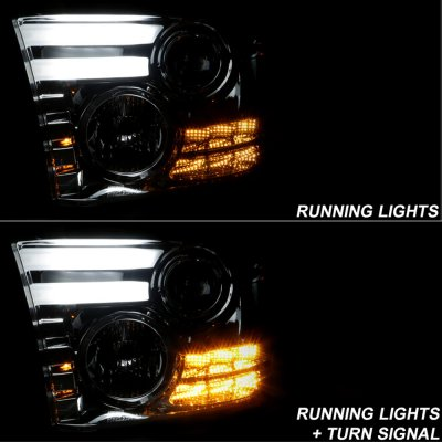Dodge Ram 2500 2010-2017 Smoked Projector Headlights Tube DRL
