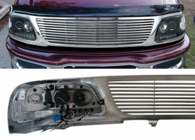 Ford Expedition 1997 1998 Chrome Billet Grille And Black Projector Headlights