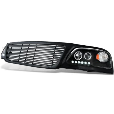 2002 Ford F150 Black Billet Grille and Projector Headlights