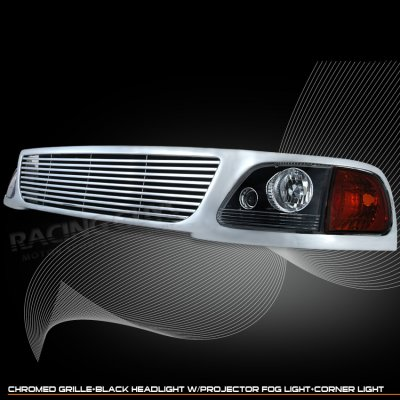 Ford Expedition 1997 1998 Chrome Billet Grille And Black Headlights A101ocni150 Topgearautosport