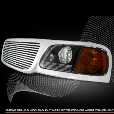 Ford F150 19992003 Chrome Billet Grille and Black Euro Headlights