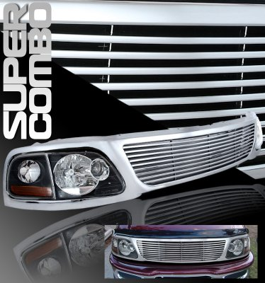 Ford Expedition 1997 1998 Chrome Billet Grille And Depo Black Euro Headlights A101vk6o150 Topgearautosport