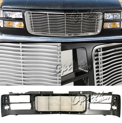 GMC Suburban 1994-1999 Black and Chrome Wave Billet Grille