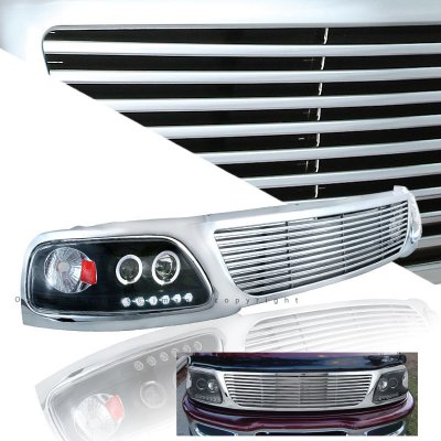 Ford Expedition 1997 1998 Chrome Billet Grille And Black Projector Headlights A101dag4150 Topgearautosport