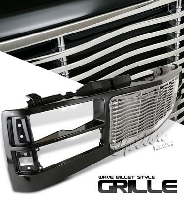 GMC Yukon 1994-1999 Black and Chrome Wave Billet Grille