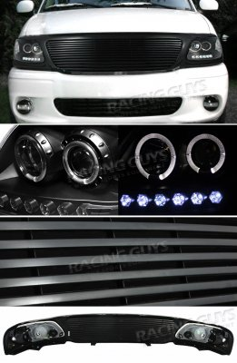 Ford F150 1999-2003 Black Billet Grille and Projector Headlights