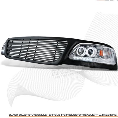 2002 Ford F150 Black Billet Grille and Clear Projector Headlights