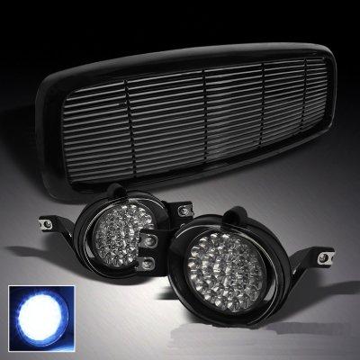 Dodge Ram 2002 2005 Black Billet Grille And Led Fog Lights Set A10185s3150 Topgearautosport