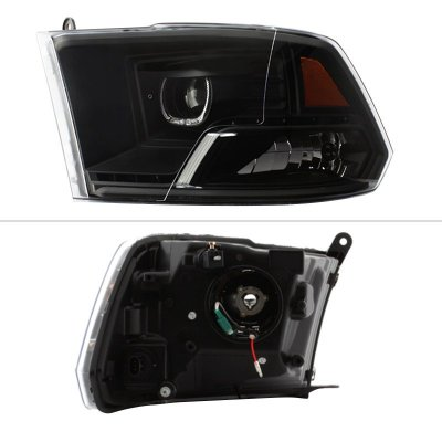 Dodge Ram 1500 2009-2018 Black Halo Projector Headlights LED DRL