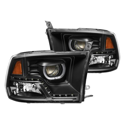 Dodge Ram 1500 2009 2017 Black Halo Projector Headlights Led Drl A1038dah101 Topgearautosport