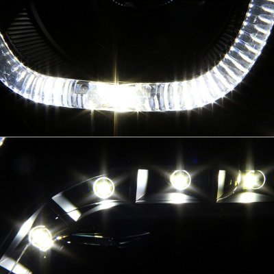 Dodge Ram 1500 2009-2017 Black Halo Projector Headlights LED DRL