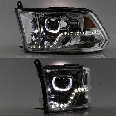 Dodge Ram 1500 2009-2017 Clear Halo Projector Headlights LED DRL