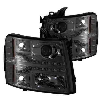 Chevy Silverado 2500HD 2007-2014 Smoked Projector Headlights LED DRL Facelift