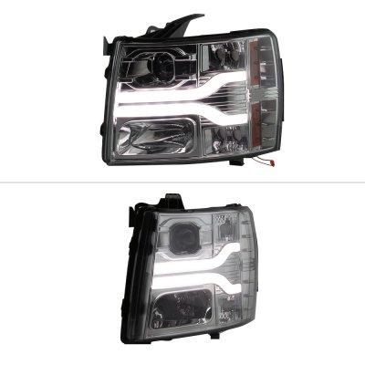 Chevy Silverado 2500HD 2007-2014 Smoked Projector Headlights DRL Tube Facelift