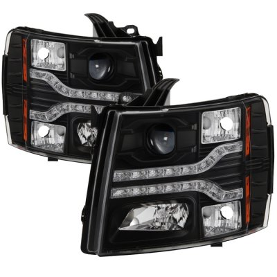 Chevy Silverado 2500HD 2007-2013 Black Projector Headlights LED DRL Facelift