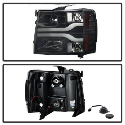 Chevy Silverado 2500HD 2007-2014 Black Projector Headlights DRL Tube Facelift