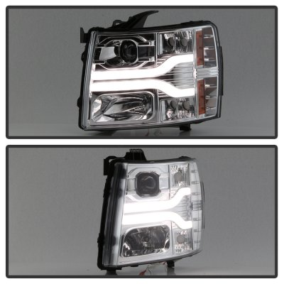 Chevy Silverado 2500HD 2007-2014 Clear Projector Headlights DRL Tube Facelift