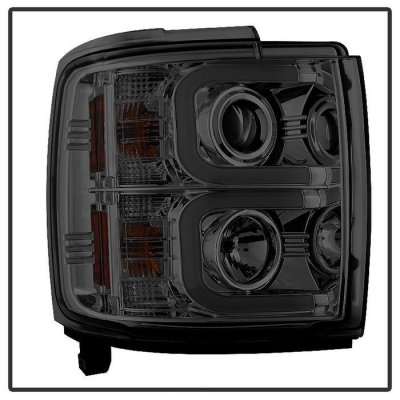 Chevy Silverado 2500HD 2015-2016 Smoked Projector Headlights LED DRL