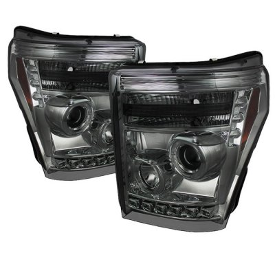 Ford F250 Super Duty 2011-2016 Smoked CCFL Halo Projector Headlights LED