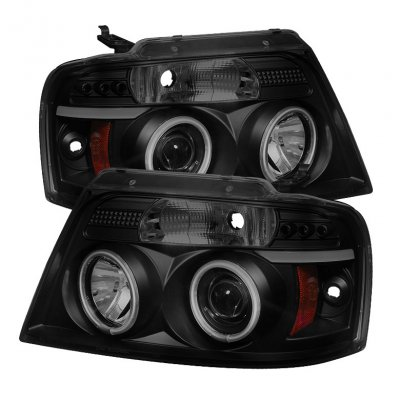 Ford F150 2004-2008 Black Smoked CCFL Halo Projector Headlights with LED