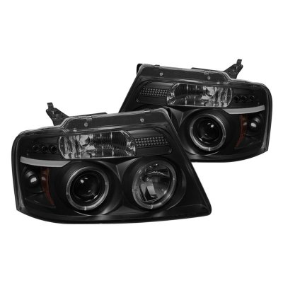 Ford F150 2004-2008 Black Smoked Halo Projector Headlights with LED