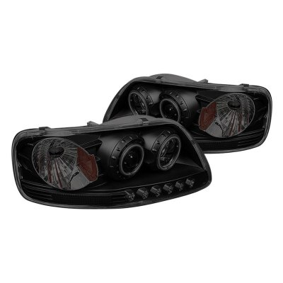 Ford F150 1997-2003 Black Smoked CCFL Halo Projector Headlights LED