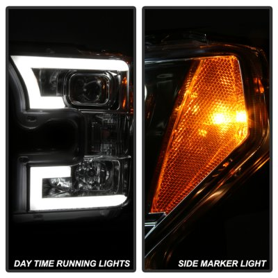 Ford F150 2015-2017 Clear Projector Headlights LED DRL Tube