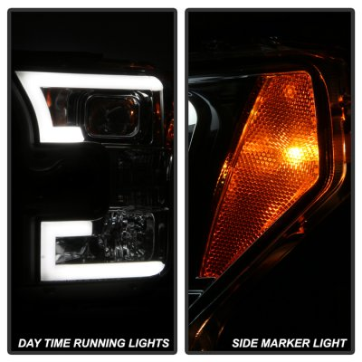 Ford F150 2015-2017 Smoked Projector Headlights LED DRL Tube