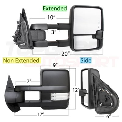 Chevy Silverado 2500HD 2007-2014 Towing Mirrors Clear LED DRL Power Heated